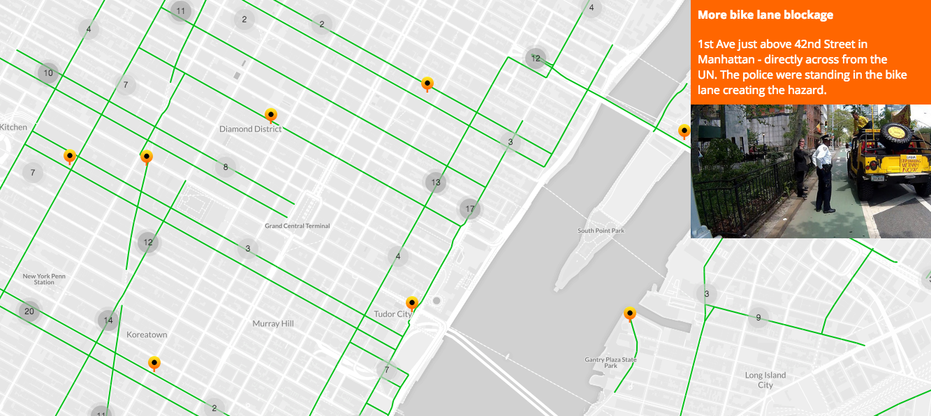 Screenshot of Bike lane blockers