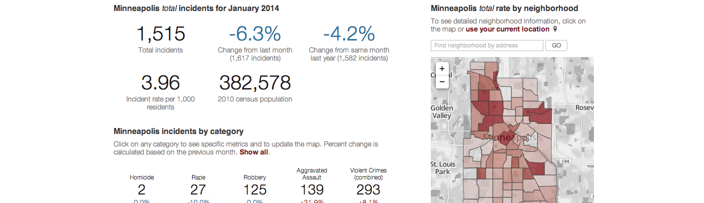 Screenshot of Minneapolis crime