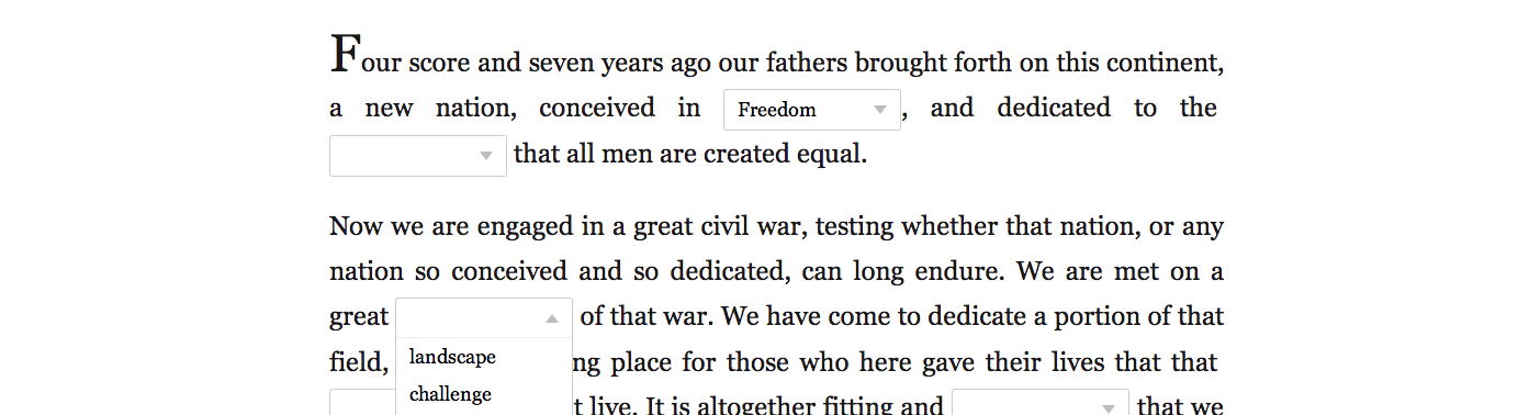 Screenshot of Gettysburg address