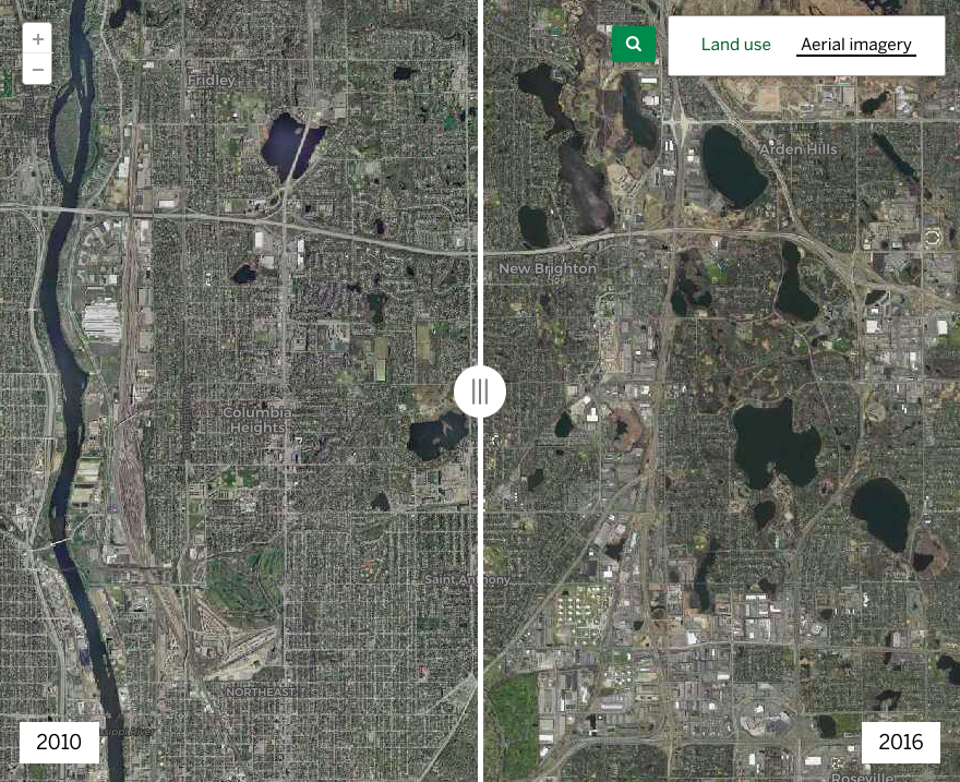 Screenshot of How land use has changed in the Twin Cities