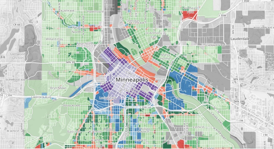 Screenshot of Minneapolis zoning