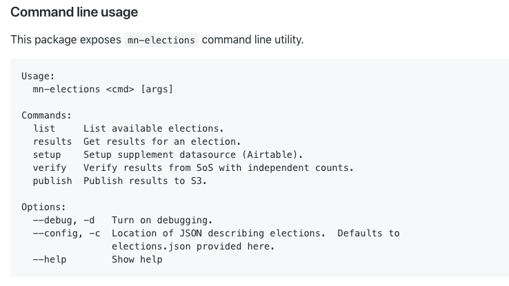 Screenshot of Minnesota elections API