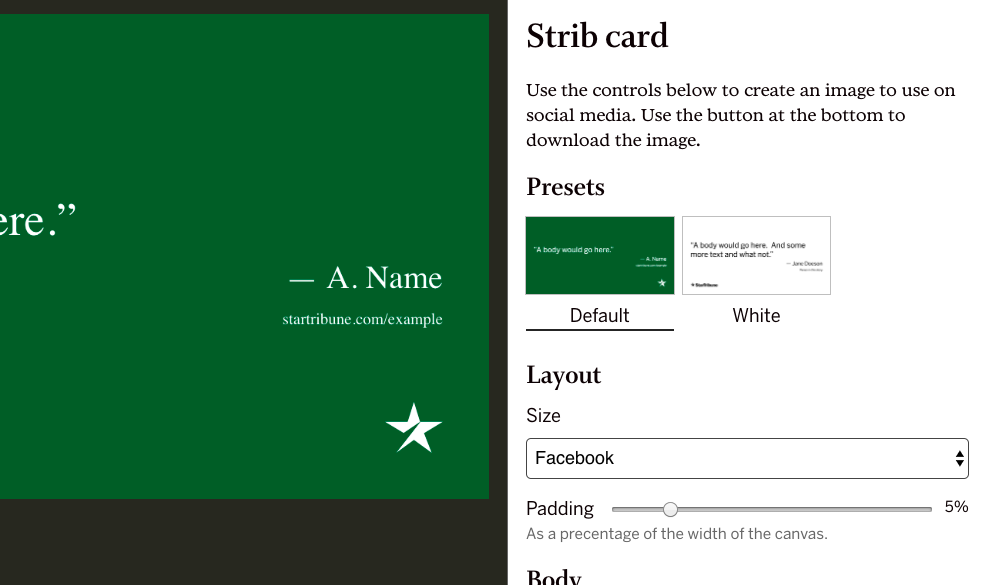 Screenshot of Strib social card generator